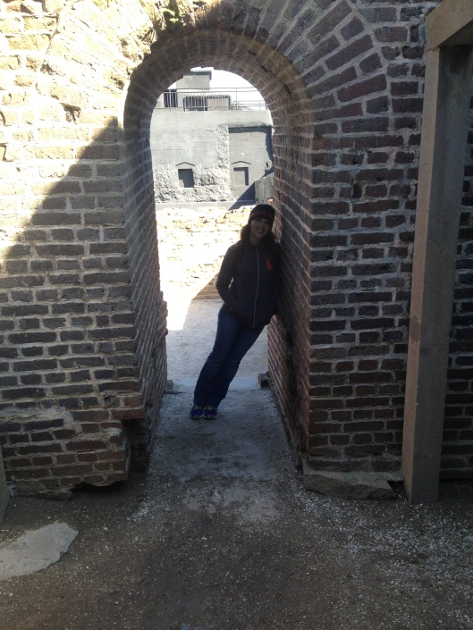 Leaning on a leaning wall at Ft. Sumter.