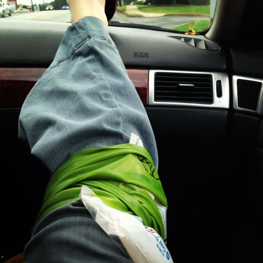 RICE in one pic: resting, icing, compressing (the sleeve is under the pants), elevating. RICE done right.